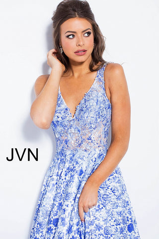 JVN by Jovani 50050 White and blue floral print prom dress evening gown