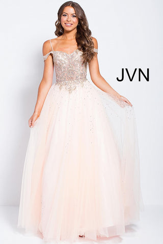 JVN by Jovani 58403 off the shoulder tulle prom ballgown