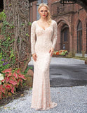 Primavera Couture 3173 Evening Gown Pewter long sleeve fitted formal dress