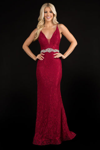 Nina Canacci 2295 Plunging neckline with mesh panel spaghetti straps long fitted prom dress evening gown with embellished belt. Colors:  Burgundy, Navy  Sizes:  0,2,4,6,8,10,12,14,16,18,