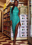 Ashley Lauren 1975 One Sleeve Asymmetrical Sequin Prom Dress high side slit evening gown