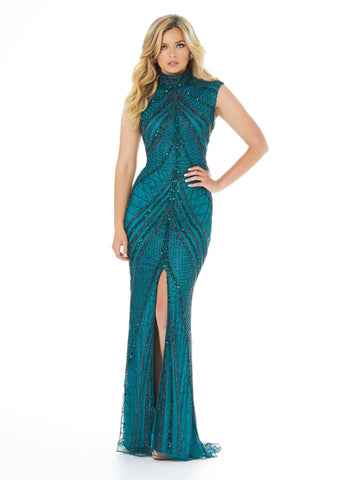 Ashley Lauren 1624 high neckline beaded sequins fitted evening gown with front slit with a figure flattering beaded design pageant gown prom dress