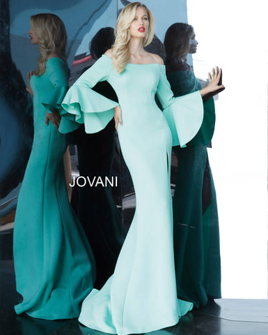 Jovani 1588 off the shoulder bell sleeve long mermaid prom dress evening gown mother of the bride dress   Available colors:  Blush, Dark Green, Light Blue, Mint, Navy, Off White, Purple, Tomato, Wine   Available sizes:  00-24