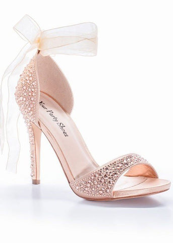 "Your Party Shoes style Carley is a sexy Crystal Embellished Formal evening Heel with a feminine soft organza ribbon that ties into a bow at the ankle. Style 1023 - Navy Style 1024 - Black Style 1025 - Rose Gold Heel: 3 1/2"" Platform: 1/2"" Available in Colors: Rose Gold, Black, Navy Available in Sizes: 5 - 11 All color and sizes are orderable. Glass Slipper Formals Dress Shoes High Heels Strap peep toe formal shoes rhinestone glam"