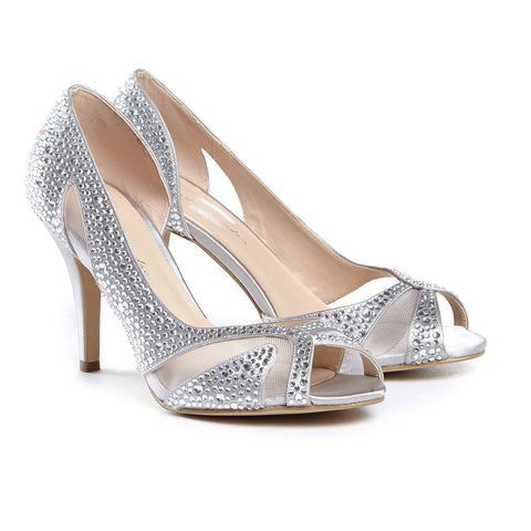 Paradox London Pink CATRINA  is a classic 3.5 inch dorsay peeptoe pump made out of a crystal covered satin material with a manmade sole. Benjamin Walk Formal High Heel Shoe Prom, Pageant & Bridal. Available Sizes: 5, 6, 6.5, 7, 7.5, 8, 8.5, 9, 9.5, 10  COMPANY: Paradox London BRAND: Paradox London Pink COLOR: Silver MATERIAL: Satin Rhinestone Crystal