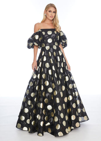 Ashley Lauren 1702 off the shoulder prom dress with polka dots