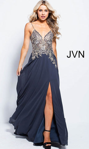 JVN55885 Navy Size 6 Prom Dress Pageant Gown  Beautiful v neckline with spaghetti straps prom dress evening gown with embellished bodice. Perfect gown for a military ball, prom or your next evening event.