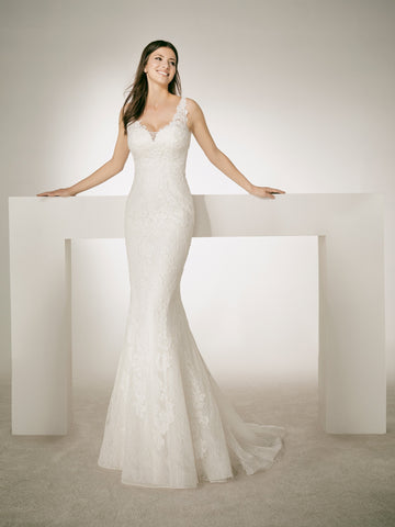 White One Bridal CHRIS Long Fitted Mermaid Lace wedding Dress Sheer Strap Gown