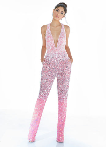 Ashley Lauren 1732 Pink beaded ombre Prom jumpsuit Pockets Plunging V Neck