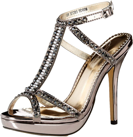 Benjamin Walk Johnathan Kayne DANTE. Dante from Johnathan Kayne is an inferno of jewels on a t-strap vamp. The 3.75 inch platform sandal is both comfortable and sexy, perfect for any special occasion. Formal Prom & Pageant Shoe. Available Sizes: 5, 6, 6.5, 7, 7.5, 8, 8.5, 9, 9.5, 10, 11  Available Color: Pewter  COMPANY: Benjamin Walk BRAND: Johnathan Kayne COLOR: Pewter MATERIAL: Mirror