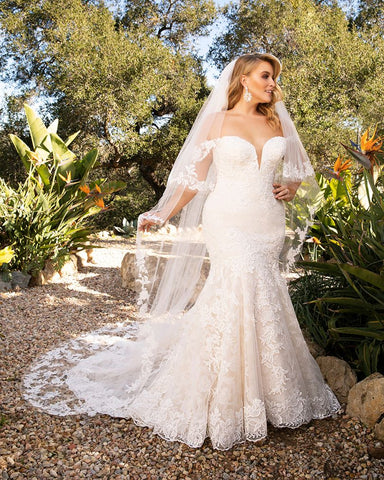 Casablanca Bridal 2376 Karina fit and flare wedding dress bridal gown lace off the shoulder