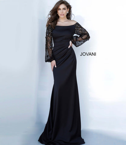 Jovani 1156 off the shoulder long embellished sleeves ruched waistline evening gown  Available colors:  Black  Available sizes:  00-24