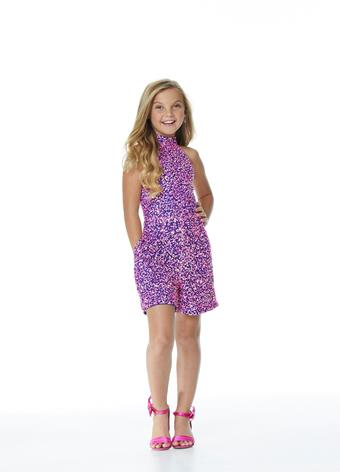 Ashley Lauren 8031 Girls short Fully Embellished Sequin Fun Fashion Romper. High choker neckline with pockets! Perfectly paired with an Ashley Lauren 8067 Organza Layered Overskirt. (Overskirt Sold Separate). Pageant Wear for kids, Preteens & Teens!