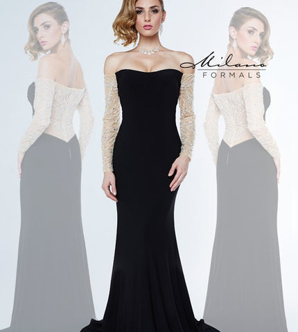 Milano Formals E 1849  Strapless off the shoulder long fitted gown with long sheer embellished sleeves and a sheer embellished back.  This formal evening gown has a sweeping train. Prom Dress Pageant Gown