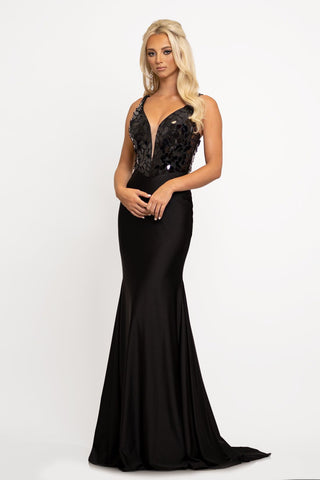 Johnathan Kayne 2216 plunging v neckline cut glass bodice with spaghetti straps that cross and tie in the back.  The long mermaid skirt has a sweeping train.  Color  Black  Sizes 00, 0, 2, 4, 6, 8, 10, 12, 14, 16