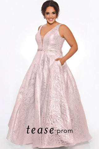 Tease Prom TE 2001 Blush size 14 brocade a line prom dress