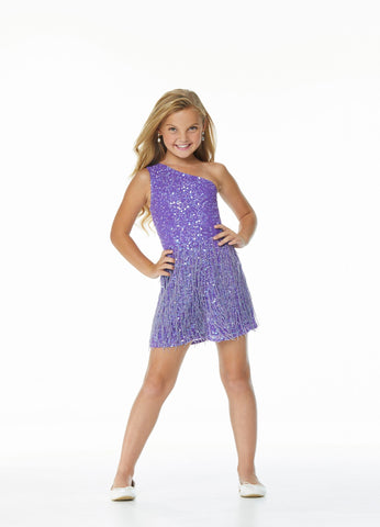 Ashley Lauren 8049 Fun in fringe! This hand-bead sequin kids romper features a one shoulder bustier and layers of fringe throughout the shorts. Excellent fun fashion for your next pageant or special event.  Colors  Iridescent Purple, Iridescent Red, Iridescent Aqua  Sizes  2, 4, 6, 8, 10, 12, 14, 16  Romper One Shoulder Fully Hand Beaded Fringe Pockets