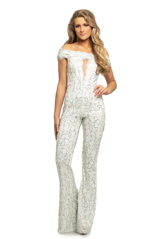 Johnathan Kayne 9237 off the shoulder eyelash lace jumpsuit embellished pageant wear