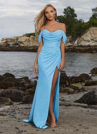 Ashley Lauren 11019 Off Shoulder Chiffon Pageant Evening Gown with Slit
