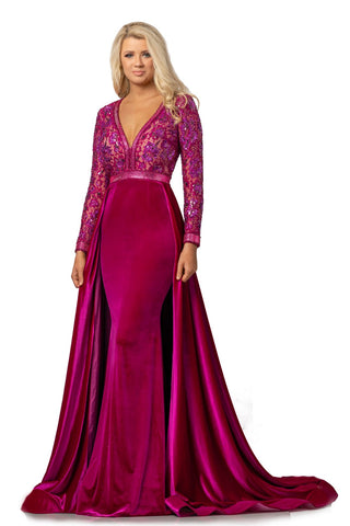 JK8013  Johnathan Kayne Pageant Gown Prom Dress Formal Evening Wear!  Stun the crowd in this glam hand beaded lace and stretch velvet evening gown. The crystals trim the beautiful neckline, waist, and hem of the long sleeves. This Pageant Gown has an open cutout back.  The fitted stretch velvet skirt features a full hostess  over skirt skirt and train.