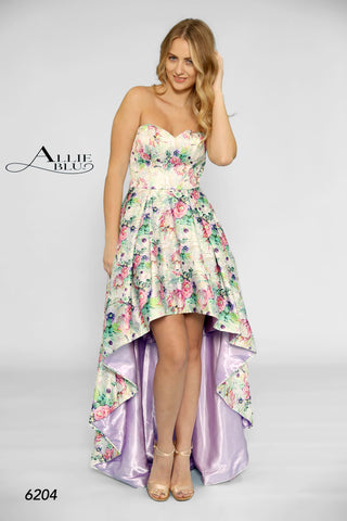 Allie Blu 6204 Multi print with a lilac underskirt Sizes 0-14