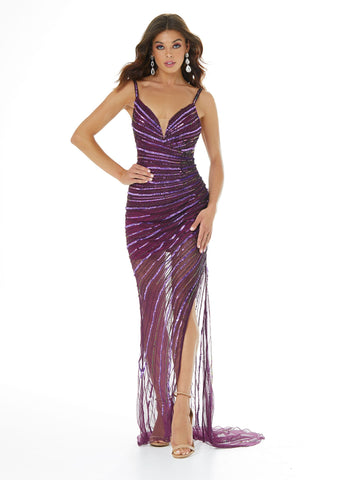 Ashley Lauren 1672 V neckline wrap style sheer embellished hand beaded beads and sequins long prom dress evening gown pageant gown with asymmetrical pattern leading to a side slit with a sweeping train.   Available colors:  Neon Purple
