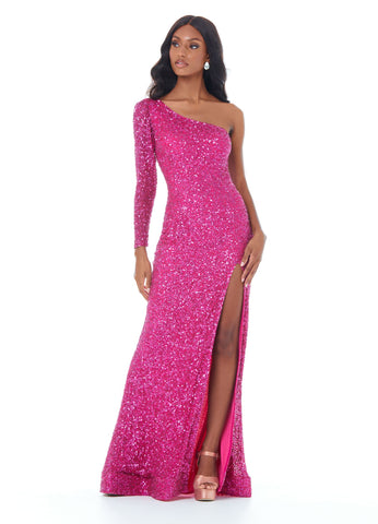 Ashley Lauren 1977 Fitted hand beaded prom dress featuring one sleeve and a left leg high slit. The long skirt on this evening gown is finished with horsehair trim for fullness. Makes an excellent pageant gown.   Available colors:  Raspberry, Silver/Pewter, Royal   Available sizes:  00, 0, 2, 4, 6, 8, 10, 12, 14, 16   One Shoulder Sleeve Slit Fitted Fully Hand Beaded Long Sleeve