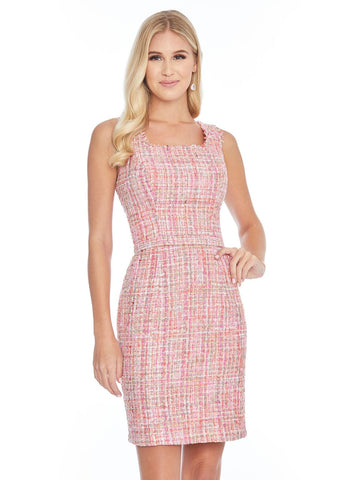 Ashley Lauren 4323 square neckline tweed cocktail dress