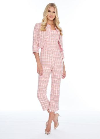 Ashley Lauren 1883 tweed formal jumpsuit with jacket