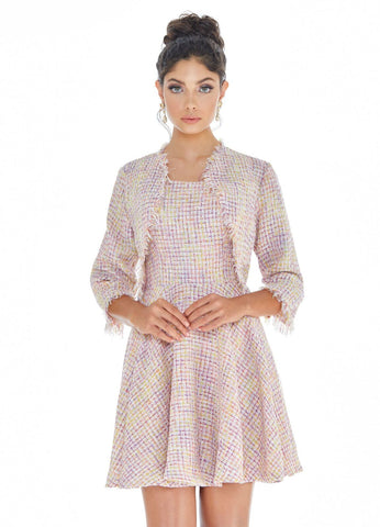 Ashley Lauren 4282 tweed cocktail dress with jacket