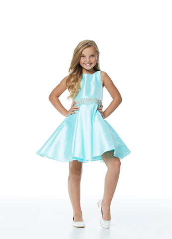 Ashley Lauren 8056 Stunning girls and preteen's cocktail dress featuring a crew neckline and a crystal and pearl waistband.  Colors  Aqua, Lilac, Ivory  Sizes  2, 4, 6, 8, 10, 12, 124, 16  Crew Neckline Pearl & Crystal Beaded Belt Shimmer Brocade