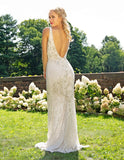 Primavera Couture 3232 Long Beaded V Neck Formal Dress Backless Gown