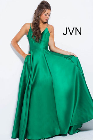 JVN by Jovani 48791 satin spaghetti straps v neckline A line prom dress pageant gown evening gown bridesmaids dresses