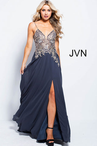 JVN by Jovani 55885 embellished bodice spaghetti straps prom dress