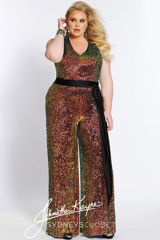 Johnathan Kayne for Sydney's Closet JK 2110 V neckline halter top keyhole back all sequin plus sized formal and semi formal jumpsuit with pockets. JK2110