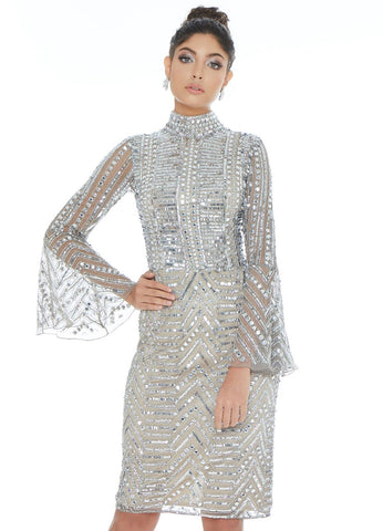 Ashley Lauren 4265 fitted sequin cocktail dress with bell sleeves