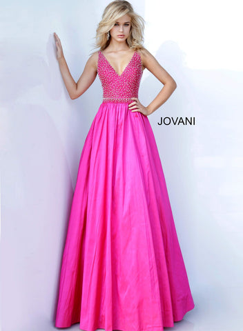 Jovani 02060 Hot Pink embellished bodice A line prom dress with train