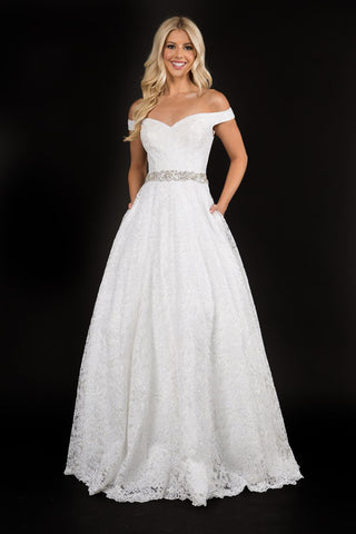 Nina Canacci 5146 is a long lace A Line Wedding Dress, Prom dress & Formal Evening Gown. Featuring a sweetheart off the Shoulder neckline with a crystal embellished waist belt falling into an embellished A Line Lace Skirt. Great plus size wedding Dress.  Available Sizes: 4-24  Available Colors: Ivory