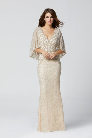 Primavera Couture 3367 beaded v neckline evening gown with cape long formal modest dress mother of the bride or groom.