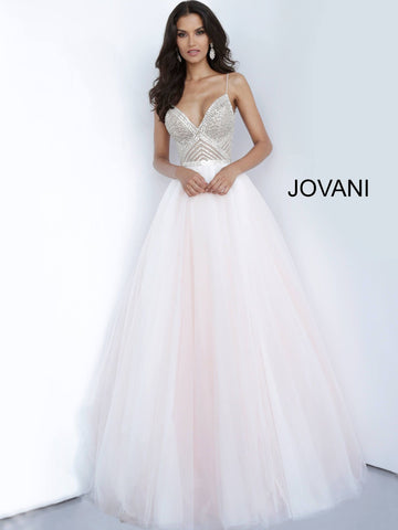 Jovani 00580 Blush beaded bodice tie back prom dress ball gown