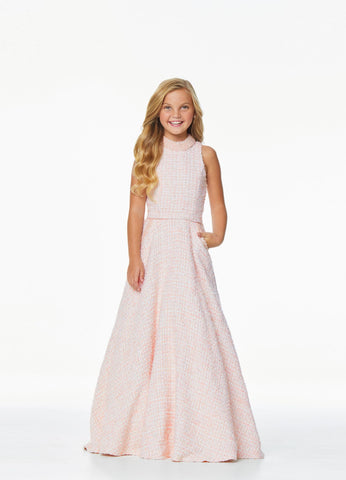 Ashley Lauren 8062 We love tweed! Wow in this tweed girls and preteen's formal dress and ball gown complete with pearl accents along the neckline and pockets.  Colors Blush, Ivory  Sizes  2, 4, 6, 8, 10, 12, 14, 16  Tweed Crew Neckline Beaded Neckline & Pockets A-Line