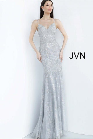 JVN68134 spaghetti straps v neckline embellished embroidery mermaid prom dress evening gown pageant dress mother of the bride or groom gown