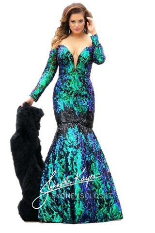 Johnathan Kayne for Sydneys Closet JK2010 Cobra off the shoulder long sleeves plunging neckline mermaid plus size prom dress with corset back embellished with stones. Long Sequin Mermaid Pageant Gown. Sexy Plunging Neckline with sheer embellished off the shoulder long sleeves. Stunning Multi Sequin pattern. Lace up corset back closure for a perfect & Accentuating fit!  Available colors:  Emerald Isle JK 2010