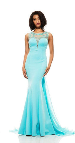 Johnathan Kayne style 6023 Turquoise size 12 Stretch Jersey pageant gown prom dress