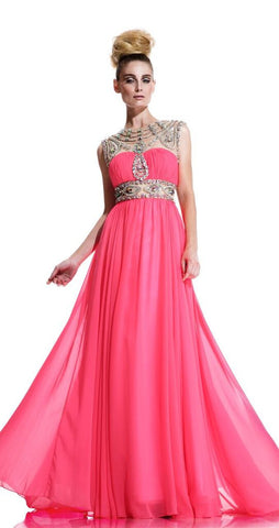 Johnathan Kayne 596 Size 8 Crystal pageant gown Neon Pink prom dress