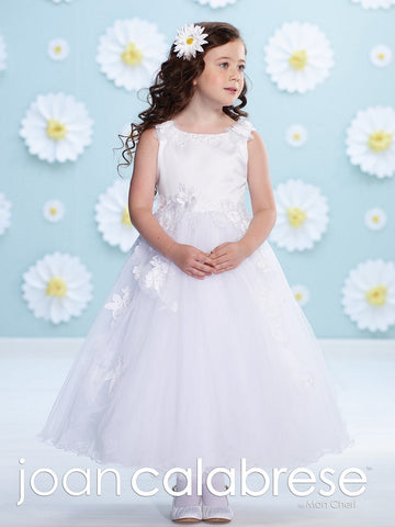 Joan Calabrese 116377 size 6 white flower girl dress Floral Applique Sheer Tulle