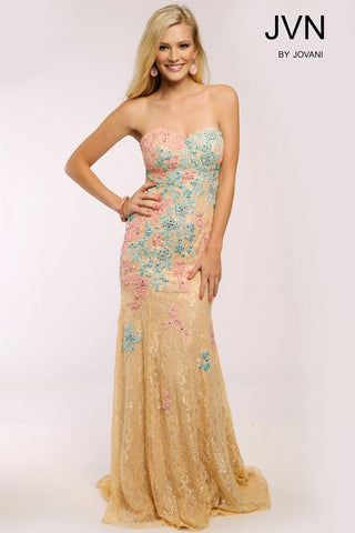 JVN by Jovani 22460 lace mermaid size 4 prom Gown pageant dress Nude