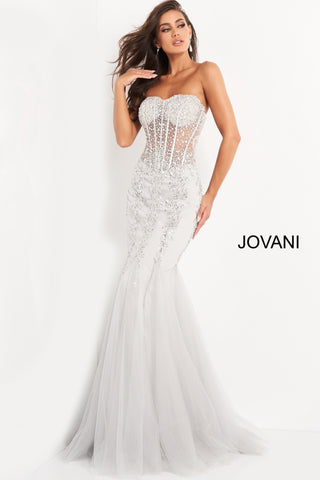 Jovani 5908 Long Sheer Corset Strapless formal prom and Pageant dress mermaid tulle trumpet skirt crystal rhinestone embellished evening gown fit & Flare 2021 Gown Sequin sweetheart