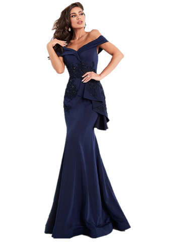 Jovani JVN04476 is a long fitted Navy mermaid Dress. Off the Shoulder straps with a wrap sweetheart neckline. Embellished Fitted bodice with beading in floral pattern. ruffle accent along the hips accentuates any figure. Trumpet skirt with sweeping train. Great wedding guest, Mother Of & More! Available Sizes: 00,0,2,4,6,8,10,12,14,16,18,20,22,24  Available Color: Navy