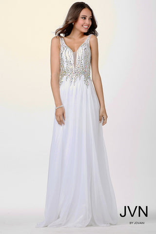 JVN by Jovani style JVN22241 is a long flowy chiffon prom dress with sleeveless top that is scattered with crystal accents evening gown pageant dress